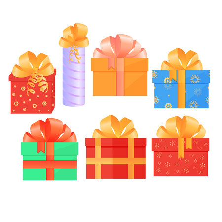 A set of festive boxes with gifts tied with satin bows. Illustration