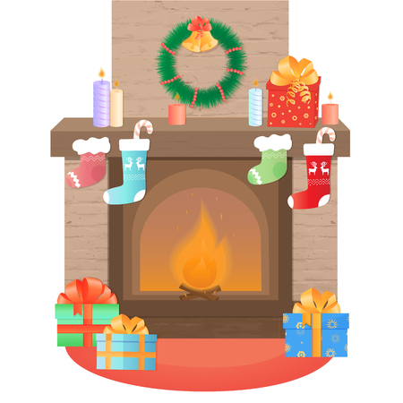 The fireplace is decorated for Christmas. New Years decoration
