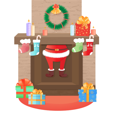 Santa Claus climbs out of the fireplace. Christmas decoration.