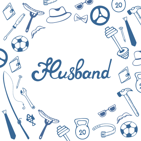 Husband hand lettering. Greeting card for the day of the spouse in the doodle style. Reklamní fotografie
