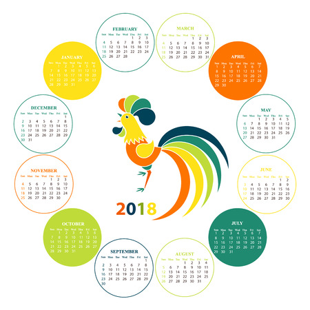 Wall calendar for 2018 from Sunday to Saturday. Rooster.