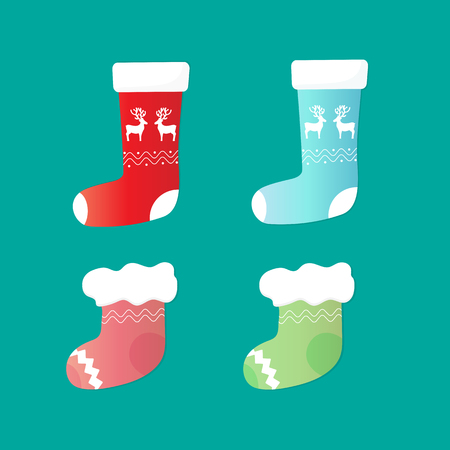 A set of sock santa with fur and deer. Christmas decoration
