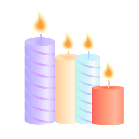 A set of burning candles. Decoration for Christmas party, birthday, valentine, spa salon Illustration