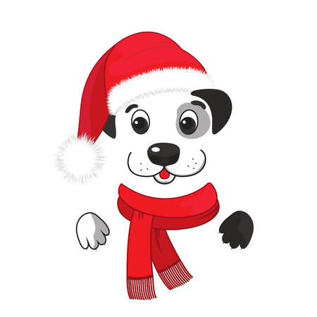 A funny dog in a santa hat and a scarf with a fringe. Chinese New Year 2018
