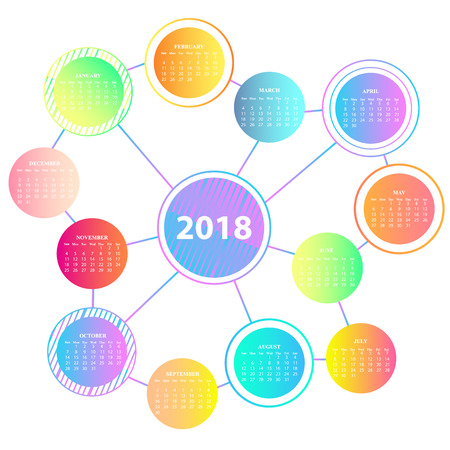 A trendy wall calendar for the year 2018 of the dog. Circles with a gradient in the form of a molecule.