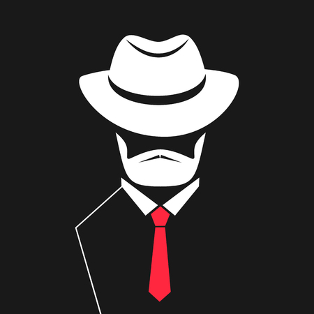 A man with a beard in a hat, tie. lcon for barbershop, men's store. Ilustração