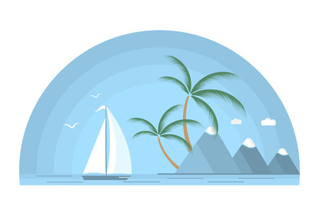 Sailboat in tropical island with palm trees and mountains