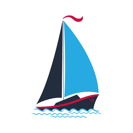 Ship with sails on the waves. Logo for a travel company, for water sports, for the yacht club