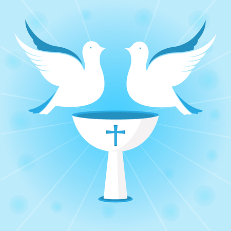 A couple of white pigeons are hovering over the chalice. Baptism of Jesus. Design for christening ceremony.
