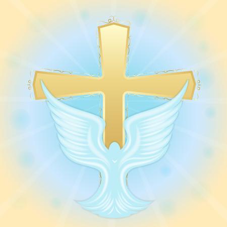 Bautismo de Jesús Paloma en el cielo contra el fondo de la cruz. Símbolos bíblicos Tarjeta de felicitación de Pascua.