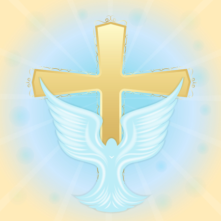 Baptism of Jesus. Dove in the sky against the background of the cross. Biblical symbols. Easter greeting card.