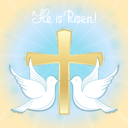 Pigeons in the sky against the background of the cross. Baptism of Jesus. Hand lettering He is risen. Easter greeting Illustration