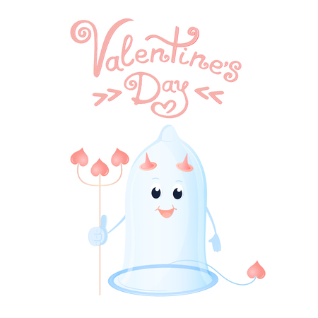 Funny condom with horns and a trident. Greeting card for Valentines Day Stock Photo