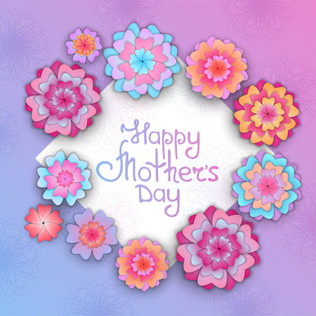 Greeting card with flowers for Mothers Day in the style of cut paper. Illustration