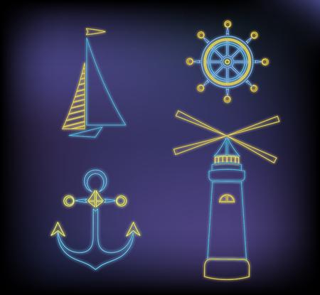 Set of marine neon icons ship, lighthouse, anchor, steering wheel. Illustration