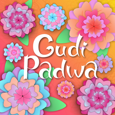 Gudi Padwa. Hindu New Year. Hand lettering on the banner with paper flowers.