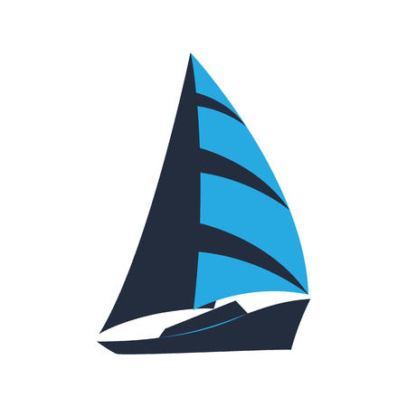 Ship. Sailboat. Logo for a tourist company, for water competitions, for tourism. 矢量图像