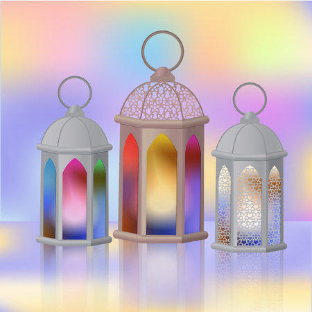 A set of Arab lanterns with multi-colored glass.