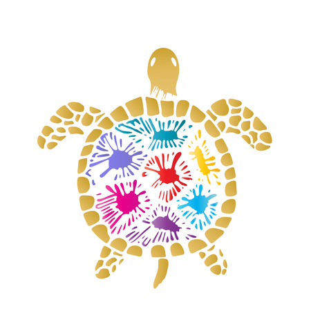 Sea turtle with colored blots on the shell.