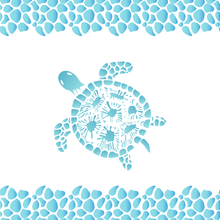 Water turtle hand drawn. Frame pattern from sea pebbles