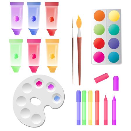 Set for children's creativity: tubes with paints, watercolor, markers, palette. Illusztráció