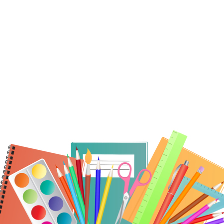 Back to School concept. Set for childrens creativity.