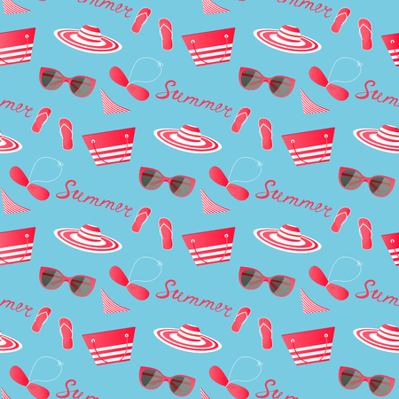 Beach summer clothes and accessories seamless pattern.