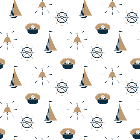 Sailboat , ship bell, captain hat, steering wheel seamless pattern.