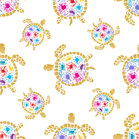Sea turtle with colored blots on the shell seamless pattern. Illustration