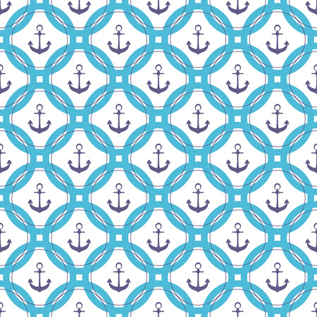 Ship anchor in the circle. Marine seamless pattern.  イラスト・ベクター素材