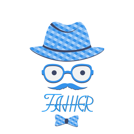 A man with a mustache in a hat and glasses. Greeting card for Fathers Day. Hand lettering.