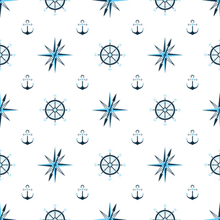 Captain wheel, water anchor, seaman compass. Nautical background, seamless pattern.