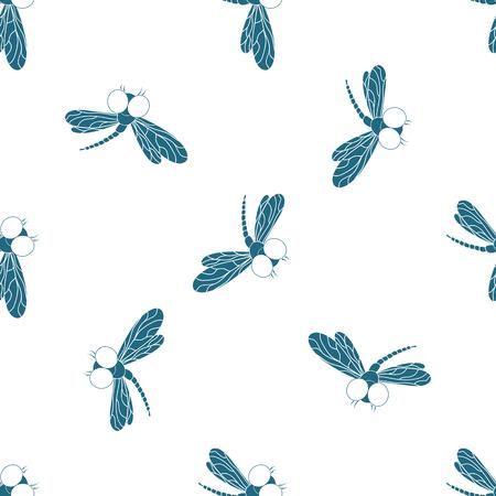 Fliegender Addierer. Design von Packpapier, Tapete, nahtloses Muster für Stoffe. Vektorgrafik