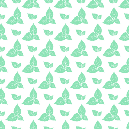 Green leaves of fresh mint seamless pattern.