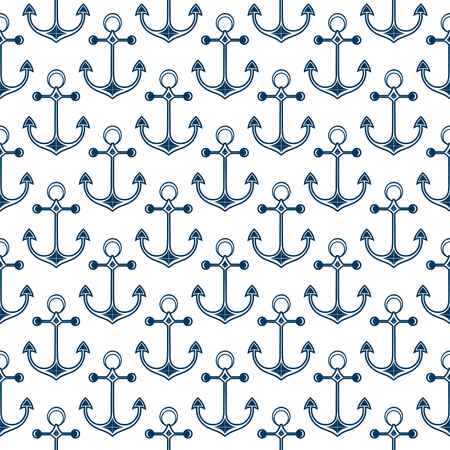 Ship anchor. Background in the marine style. Seamless pattern.