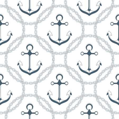 Anchor in a frame with a chain. Seamless nautical pattern.