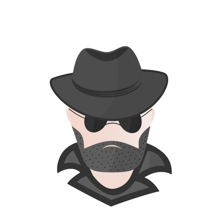 A bearded man in a hat with sunglasses. Spy. Detective. Computer hacker