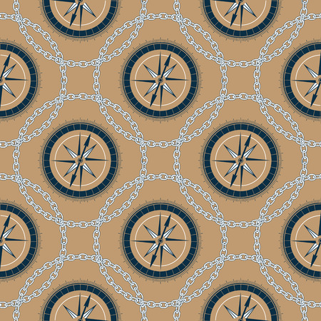A marine compass in a frame of a chain. Background in sea style seamless pattern Illustration