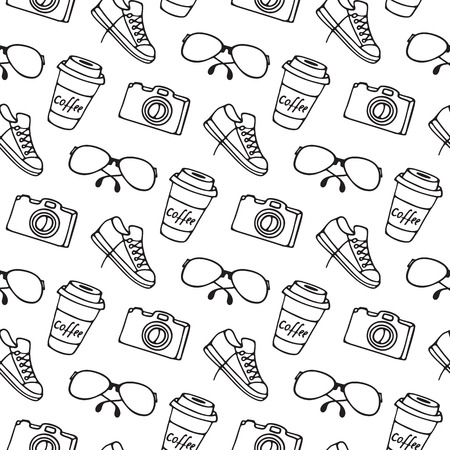 Cup of coffee on takeaway, glasses, camera, sneakers seamless pattern