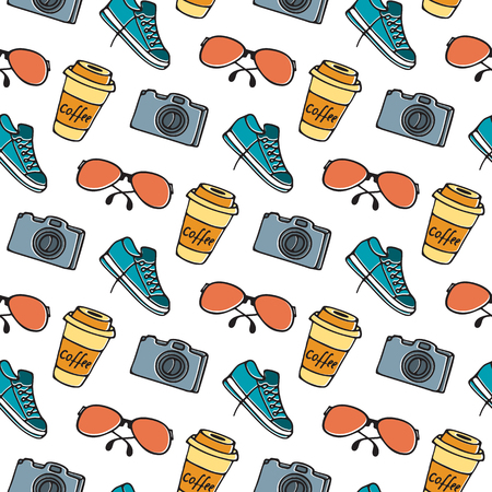 Cup of coffee on takeaway, glasses, camera, sneakers seamless pattern hand drawing doodle