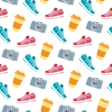 Cup of coffee to go, camera, sneakers seamless pattern hand drawing doodle