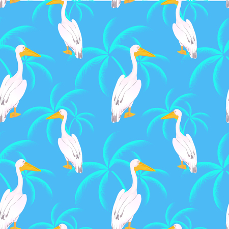 Pink pelican. Onocrotalus. Leaves of a palm seamless pattern Ilustracje wektorowe