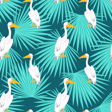 Pink pelican. Onocrotalus. Palm tree tropical seamless pattern