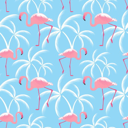 Pink flamingos and palms. Seamless tropical pattern