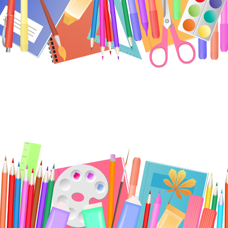 Back to school concept. A set of subjects for learning and childrens creativity. Illustration