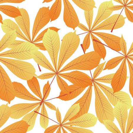 Leaves of chestnut. Yellowed foliage. Autumnal seamless pattern