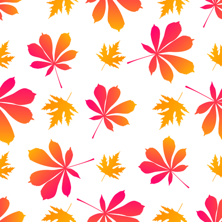Leaves of maple and chestnut. Autumnal seamless pattern