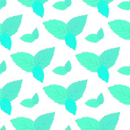 leaves of fresh mint seamless pattern. Vector floral background.