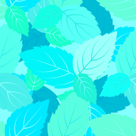 Mint leaves seamless pattern. Vector floral background. Stock Photo