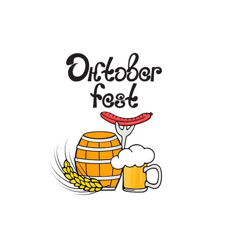 Oktoberfest. A glass of beer, a barrel, a sausage